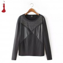 Womens Black PU Leather Stitching Jewel T-shirt