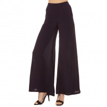 Womens Black Wide Leg Style Chiffon Trousers