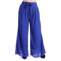 Womens Blue Wide Leg Style Tie Waist Chiffon Trousers
