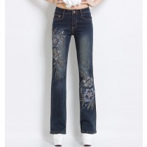 Womens Casual Embroidered Flower Beading Flare Jeans