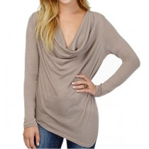 Womens Casual Long Sleeved Plus size T Shirt3