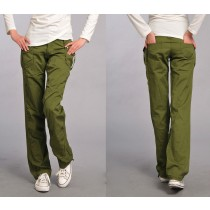 Womens Cotton Flat Front Cargo Trousers