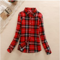 Womens Cotton Long-Sleeve Plaid Shirts