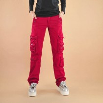 Womens Cotton Zipper Fly Cargo Trousers