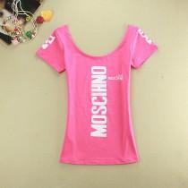 Womens Deep U-neck Letter Printed T Shirts