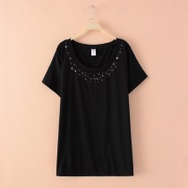 Womens Diamond Knit Short Sleeve T-Shirts