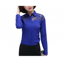 Womens Embroidery Flower Design Chiffon Formal Shirts