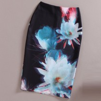 Womens Floral Colorful Pattern Pencil Skirt
