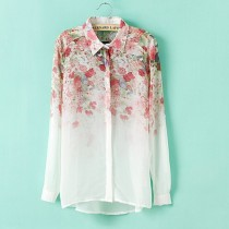 Womens Flower Print Chiffon Collar Long-Sleeve Shirts
