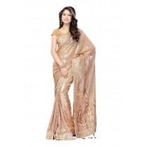 Womens Golden Viscose Sari With Blouse