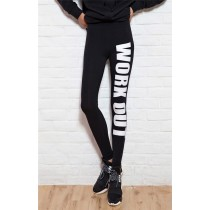 Womens Letter Printed Black Fitness Leggings