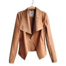 Womens New Brown Faux Leather Jacket