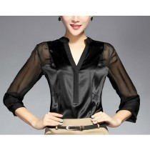 Womens Silk Long Sleeves Formal Shirts