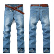 Zipper Fly Mens Straight Denim Jeans