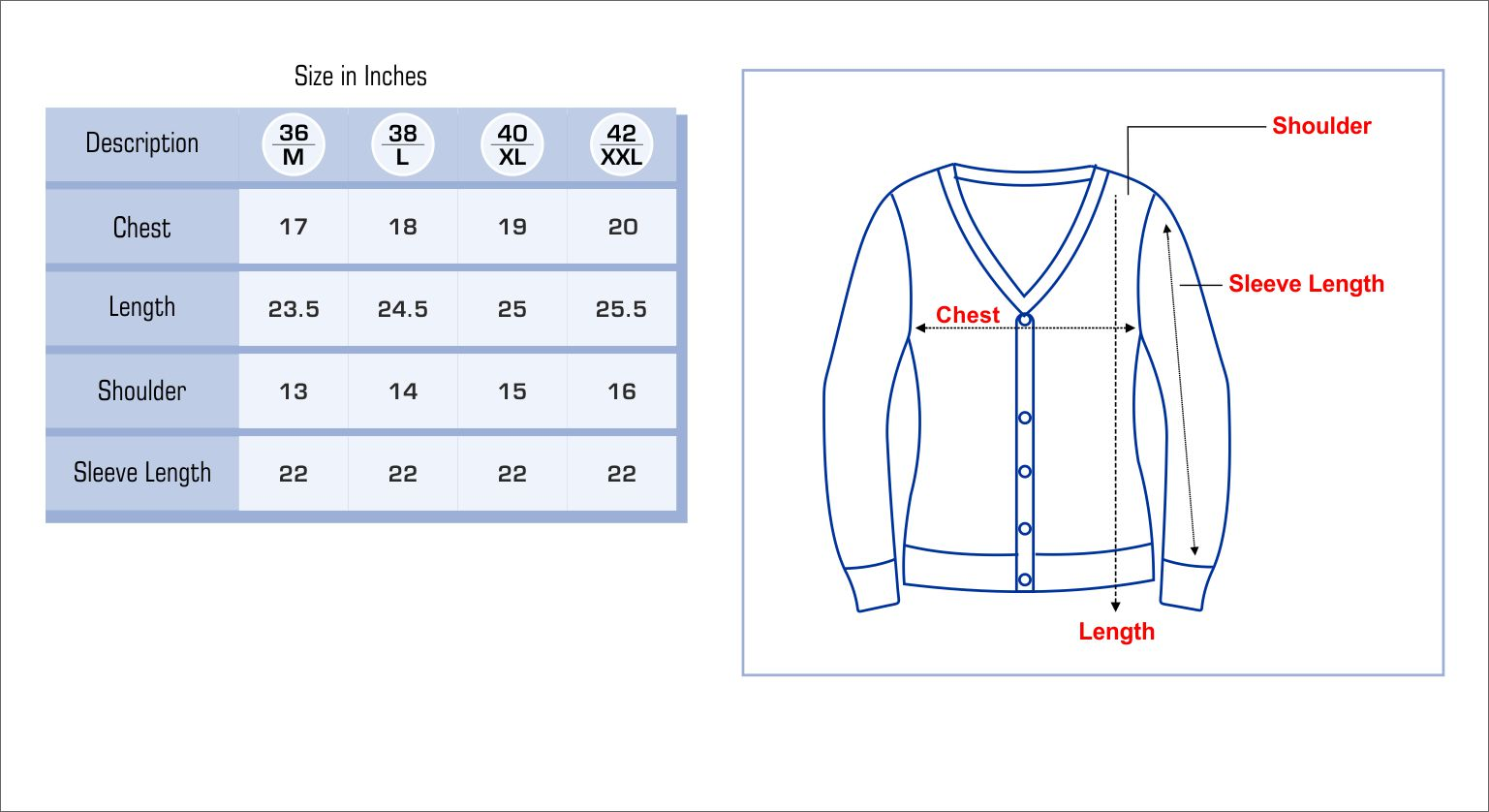 Women Sweater Size Chart