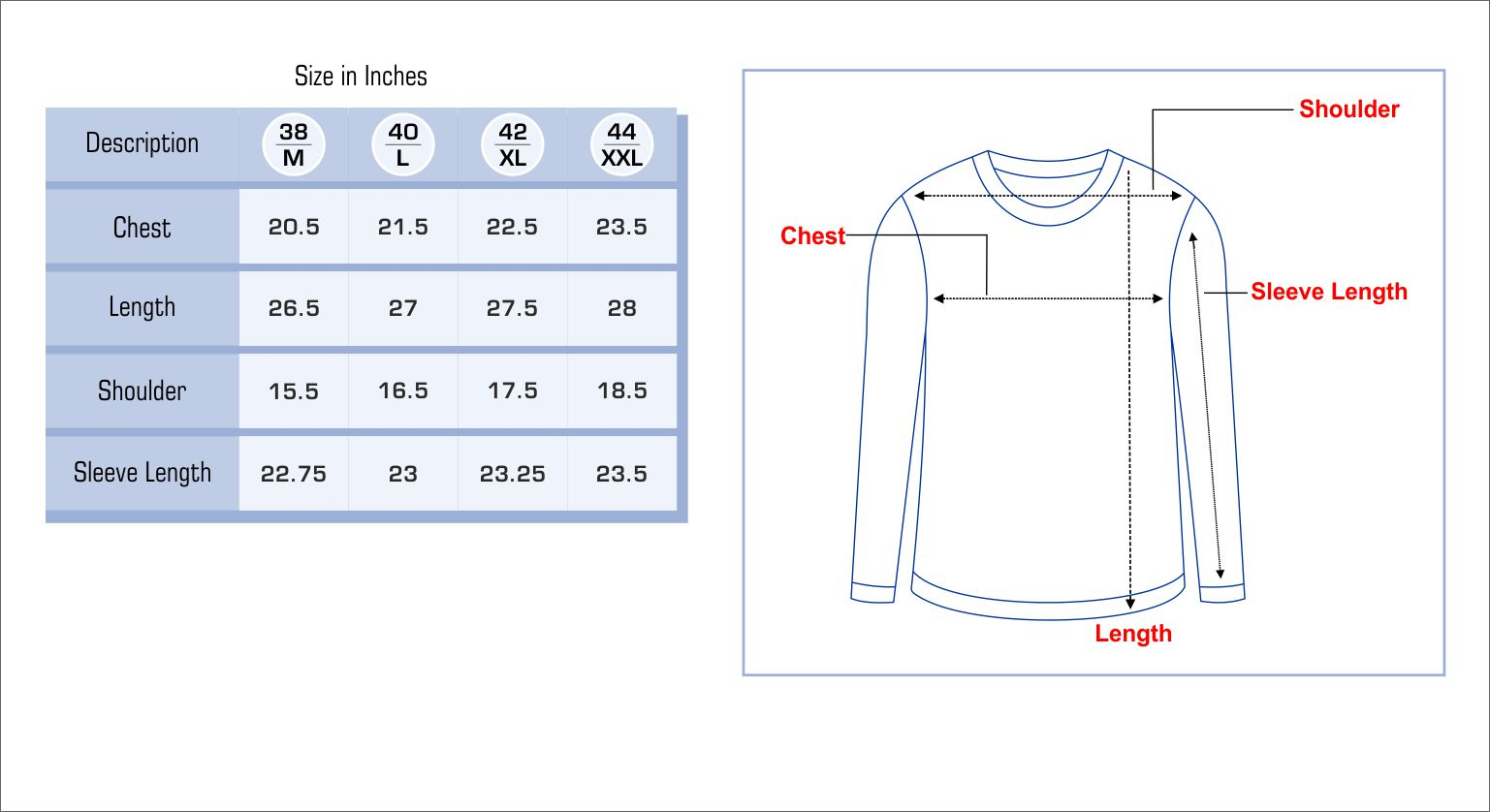 Mens Sweater Size Chart