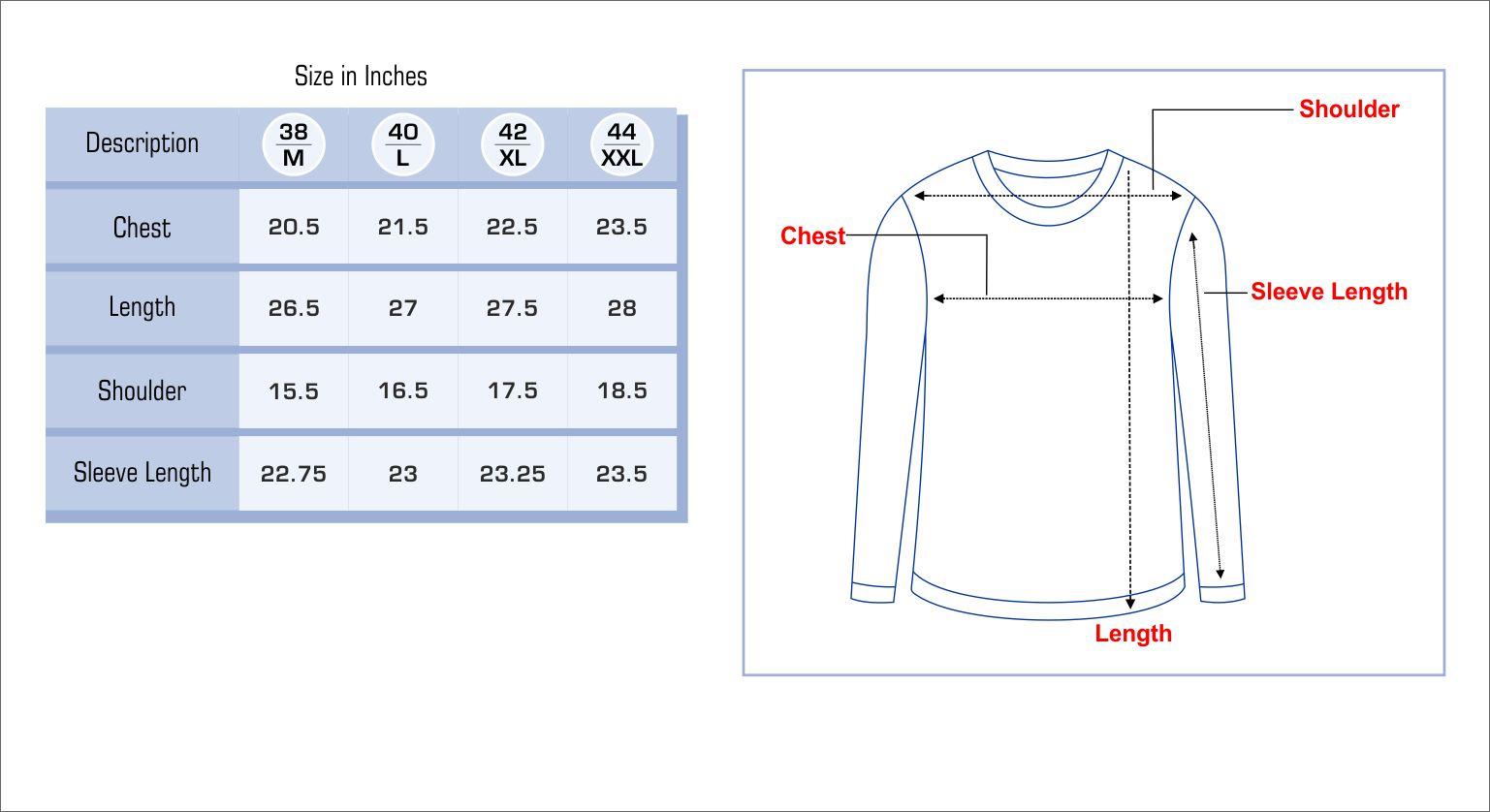 Mens Sweater Size Chart