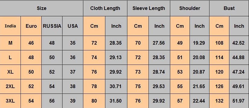 Mens Jacket Size Chart